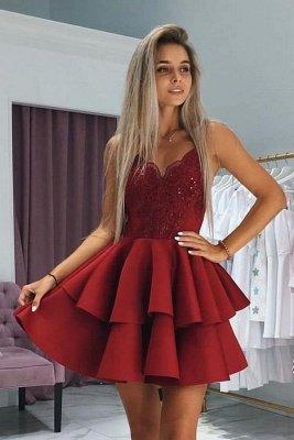 Red Short A-line V-neck SatinAppliques Prom Dress