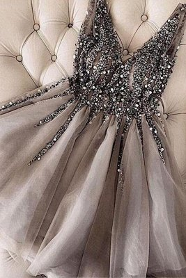 Short A-line V-neck Tulle Silver Prom Dress with Beading