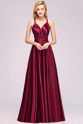Elegant Long Burgundy Satin One Shoulder Bridesmaid Dresses_3