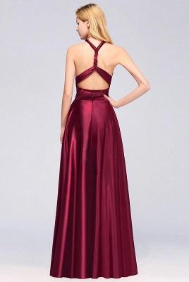 Elegant Long Burgundy Satin One Shoulder Bridesmaid Dresses_5