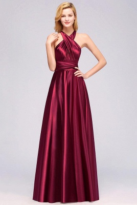 Elegant Long Burgundy Satin One Shoulder Bridesmaid Dresses_4