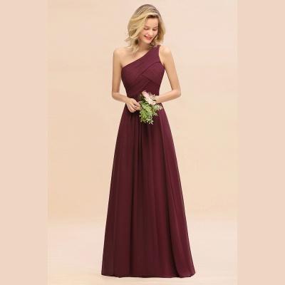 Chic Long One Shoulder Ruffle Chiffon Burgundy Bridesmaid Dresses_6