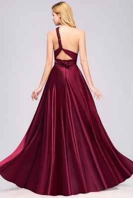 Elegant Long Burgundy Satin One Shoulder Bridesmaid Dresses_6