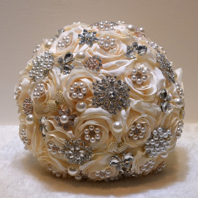 Shiny Crystal Beading Silk Rose Wedding Bouquet in White and Pink_2