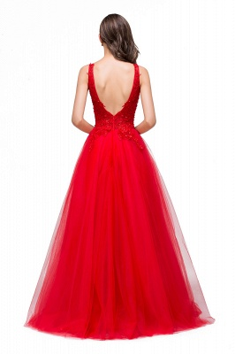 Chic Occasion Sepcial Sheer A-Line Red Evening Dresses_6