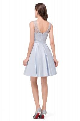 A-Line Knee Length Sleeveless Lace Short Prom Dresses_3
