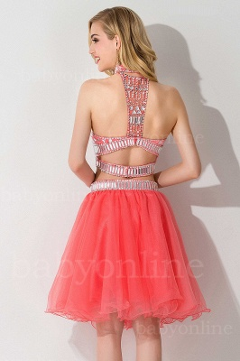 Cheap Sexy Crystal Beads Tulle Sleeveless Two-piece Short Prom Dress in Stock_6