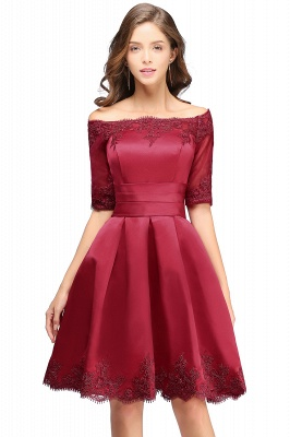 Cheap Chic Half Sleeve Lace-up Off-shoulder Lace Appliques Short Prom Dress in Stock_3