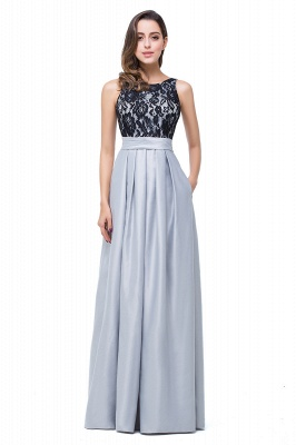 ELLIE | Elegant A-line Floor-length Crew Chiffon Lace Bridesmaid Dresses_2