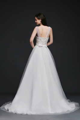 A-line Scoop Tulle Elegant Wedding Dress With Lace_3