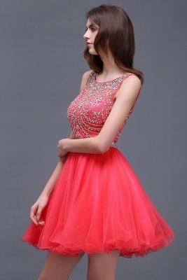 Rose Beads Applique Cute A-Line Crystal Short Sleeveless Evening Dresses_3