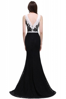 BRYNN | Mermaid Scoop Neckline Lace Black and White Elegant Prom Dresses with Bowknot Sash_3