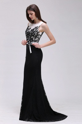 BRYNN | Mermaid Scoop Neckline Lace Black and White Elegant Prom Dresses with Bowknot Sash_7