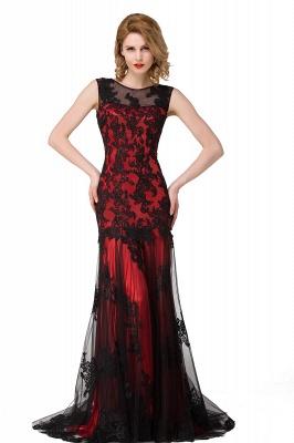 DANIELA | Scoop Neck lace Applique Mermaid Black Prom dresses_2