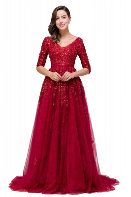 A-Line Floor-Length V-neck Half Sleeves Lace Appliques Prom Dresses_7