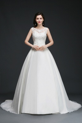 A-line Sweep Train Elegant Wedding Dress With Beading_2