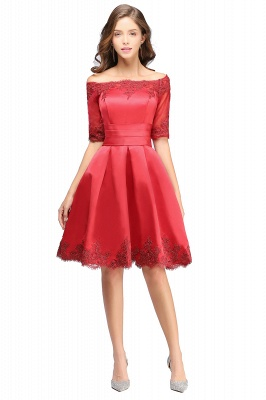 Cheap Chic Half Sleeve Lace-up Off-shoulder Lace Appliques Short Prom Dress in Stock_12