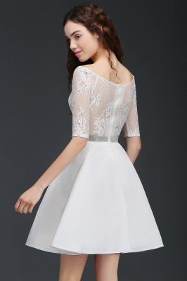 A Line Jewel White Short Sleeve Satin Homecoming Dresses With Lace_5