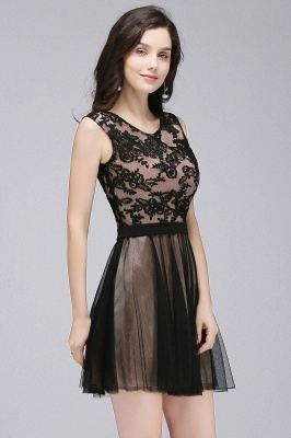 Cheap Short Lace Appliques Tulle Sleeveless Prom Dress in Stock_9
