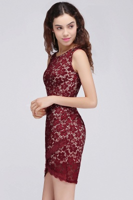 Cheap Bodycon Round Neck Short Lace Burgundy Homecoming Dress in Stock_5