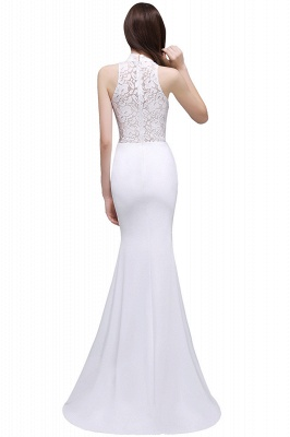 ALANNA | High Neck Mermaid  Lace White Wedding Dresses With Ruffles_5