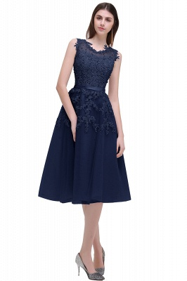 EMORY | Crew Tea Length Lace A-Line Appliques Short Prom Dresses_6