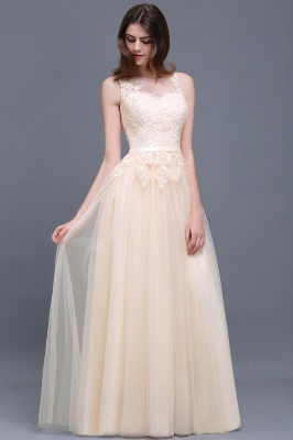 Lace-Appliques Prom Champagne Charming Sleeveless  Scoop-Neckline Party Dress_13