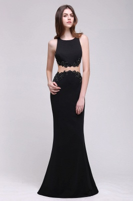Sheath Round Neck Floor-Length Black Prom Dresses With Crystal_4