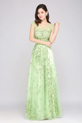 A-line Floor Length Tulle Green Prom Dresses with Appliques_5