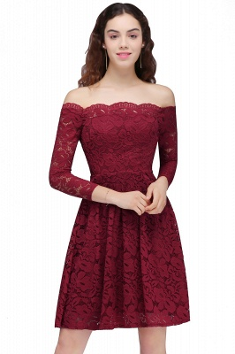 Cheap A-Line Off-the-Shoulder Short Lace Burgundy Homecoming Dress in Stock_2