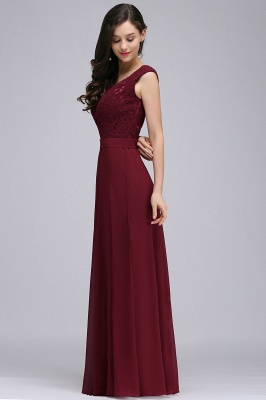 Cheap Elegant Lace A-line Long Burgundy Prom Dress in Stock_9
