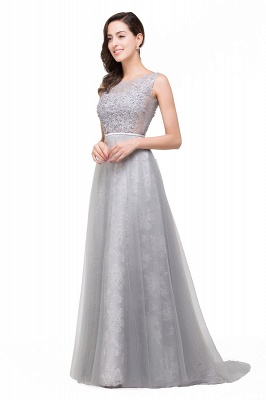 FRANKIE | A-Line Sleeveless Tulle Prom Dresses Long Party Gown_5