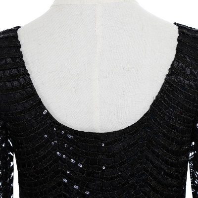 Cheap Black Champagne Sheath Long Sleeve Short Cocktailk Dress in Stock_6