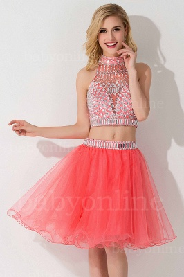Two-piece Halter Sleeveless Short Tulle Cheap Prom Dresses with Crystal Beads_17