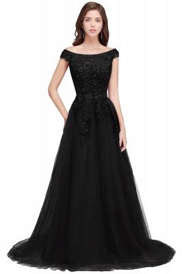EMBER | A-line Off-shoulder Floor-length Tulle Appliques Prom Dresses_4