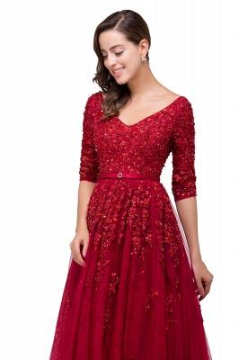 A-Line Floor-Length V-neck Half Sleeves Lace Appliques Prom Dresses_5