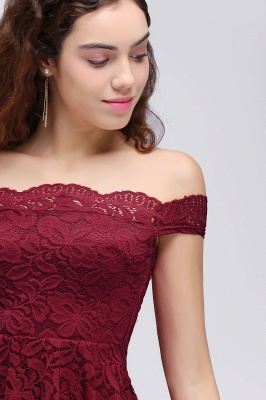 Cheap A-Line Off-the-shoulder Short Burgundy Lace Homecoming Dress in Stock_6