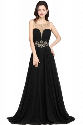 A-line Scoop Chiffon Prom Dress With Lace_1
