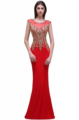 Sheath Round Neck Floor-Length Red Prom Dresses With Applique_2