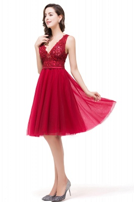 EVIE | A-Line Deep V-Neck Sleeveless Short Prom Dresses with Appliques_8