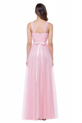 Cheap Sheath Pink Tulle Ribbon Sash Simple Bridesmaid Dress in Stock_3