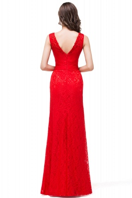 Long V-neck Floor-length Red Two-straps Sleeveless Prom Dress_6