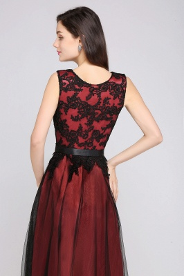 Cheap Pretty Sleeveless Black Lace Tulle Floor Length Formal Evening Dress with Sash in Stock_10