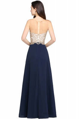 Cheap Sheer Tulle A-line Chiffon Beads Lace Appliques Sleeveless Long Evening Dress in Stock_7