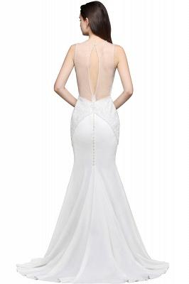 Mermaid Scoop Chiffon White Evening Dress With Beadings_4