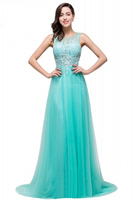 Cheap A-line Court Train Tulle Evening Dress with Appliques in Stock_10