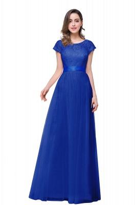 ELLIANA | Elegant Short Sleeves A-line Chiffon Bridesmaid Dresses with Ribbon Bow Sash_4