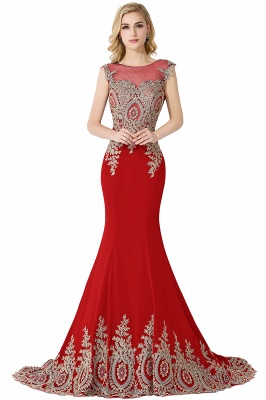 Cheap Mermaid Court Train Chiffon Evening Dress with Appliques in Stock_2