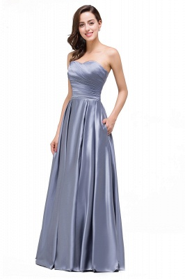 Elegant Long A line Strapless Prom Gown Evening Dress In Stock_4