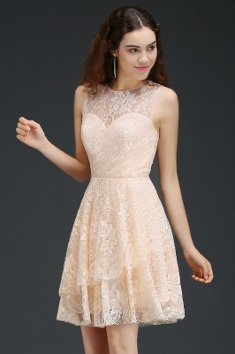 Cheap Modern Lace Pearl Pink Illusion Sleeveless Short Homecoming Dress in Stock_5